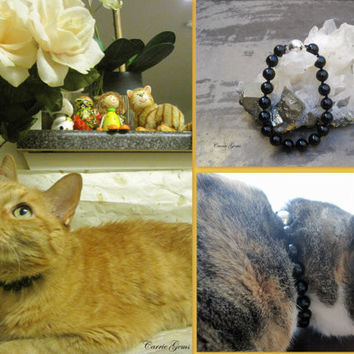 Black Onyx Cat Collar, Hand Knotted Cat Jewelry Collar with Magnetic Ball Clasp, Pet Healing Stone, Holiday Pet Gifts