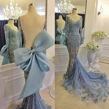 Evening Dresses Long Scoop Appliques Mermaid Evening Dress with Big Bow Long Sleeve Evening Gowns 2017 Elegant Robe De Soiree