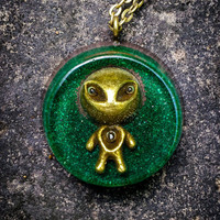 Green Orgonite Alien Necklace + (Free Shipping In US)