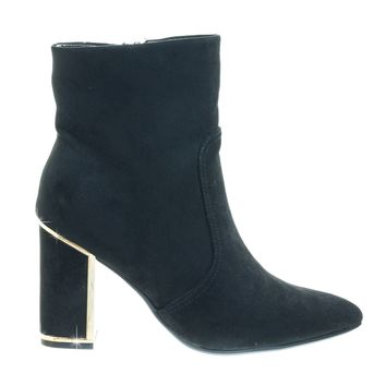 Showtime02 Black by Bamboo, Metal Trim Frame Chunky Block Heel w Pointed Toe & Faux Fur Lining