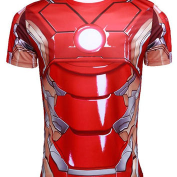 3D Iron Man Pattern Short Sleeve T-Shirt