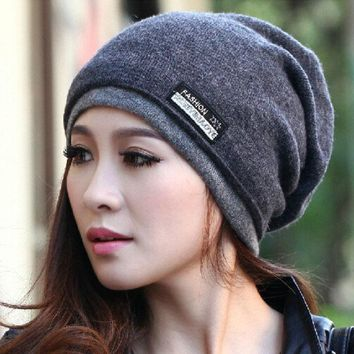 VONESC6 Cruoxibb High Quality  Warm Wool hat Knitted Beanies Hat Infinity Scarf Winter Skullies Caps For Woman and Men