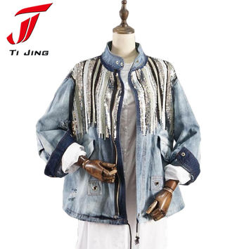 denim jacket women jacket fashion coats bling Sequins long sleeves blue vintage boho hippie chic jacket Holes Washed Denim B5076