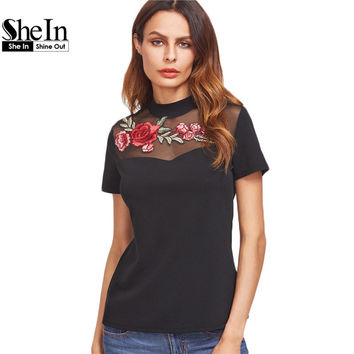 SheIn T-shirt Women Casual T-shirt Women Black Embroidered Rose Applique Mesh Neck Short Sleeve Vintage T-shirt