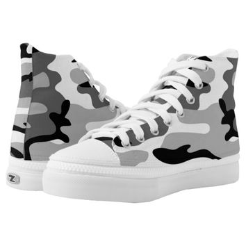 Gray And Black Camouflage Shoes