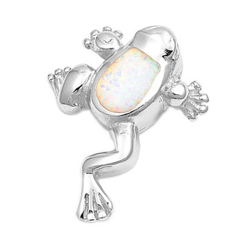 "Sterling Silver Lab White Opal Frog Pendant 27MM (Free 18"" Chain)"