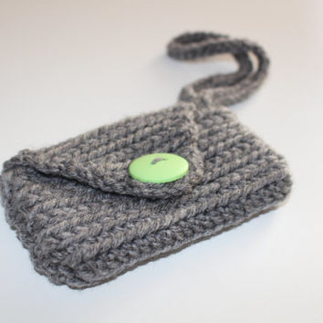 Crochet Wallet/Clutch/Wristlet with Button Clasp and Wrist Strap