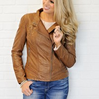 * Stephanie Leather Jacket : Camel