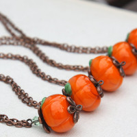 Buy 5 Get 5 Free. 5 Pumpkin Necklaces. Bridesmaids Gifts. Autumn Wedding. Halloween Necklace. Harvest Fall Jewelry. Pumpkin Orange