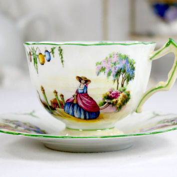 Aynsley, Period Crinoline Lady Teacup, Tea Cup and Saucer, English Bone China J