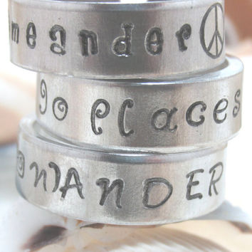 Meander, Wander, Go Places Set of Three Hand Stamped Adjustable Aluminum Rings