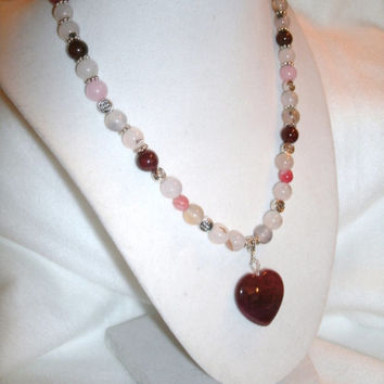 Dragon Vein Red Heart Pendant Necklace with  Multicolor Dragon Veins Agate and Jade.beads - beautiful necklace, OOAK handmade jewelry