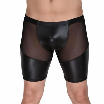 New Arrival Fashion Leather Patchwork Sexy Mesh Semi See-Through Style Charming Men's Casual Short Pants Loungewear Undershirts