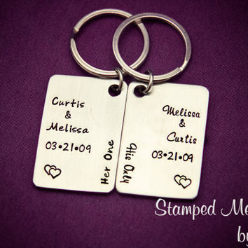 Single Soul, Two Bodies - Hand Stamped Stainless Steel Key Chains - Personalized Wedding or Anniversary Gift - Matching Couple's Set