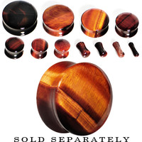 """5/8"""" Red Tiger Eye Natural Stone Plug 
