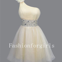 2013 style Charming Sweetheart Classic Rhinestones Single Shoulder Prom Dress from fashionforgirls
