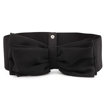 Black Elastic Belt with Chiffon Bow