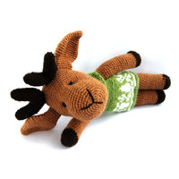 christmas reindeer amigurumi brown reindeer christmas gift stuffed reindeer brown green gift for children plushie cute christmas animal doll
