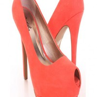 Coral Faux Suede Keyhole Peep Toe Platform Pump Heels @ Amiclubwear Heel Shoes online store sales:Stiletto Heel Shoes,High Heel Pumps,Womens High Heel Shoes,Prom Shoes,Summer Shoes,Spring Shoes,Spool Heel,Womens Dress Shoes,Prom Heels,Prom Pumps,High Heel