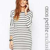 ASOS Petite | ASOS PETITE T-Shirt Dress with 3/4 Sleeves in Stripe at ASOS