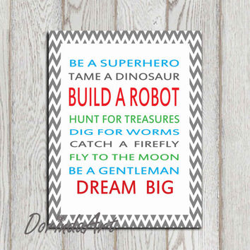 Boys bedroom quotes Robot quote Blue red green gray Nursery wall art Little boys bedroom decor Word art 5x7, 8x10 Gift idea INSTANT DOWNLOAD