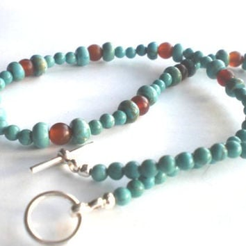 Turquoise Dyed Howelite and Golden Horn Beaded Necklace