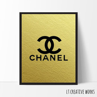 Chanel Logo, Fashion Coco Chanel Print, Gold Foil, Coco Chanel Art, Fashion Print, Wall Art, Girls Room Decor, Gold Wall Art