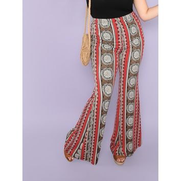 Plus Tribal Print Flare Hem Pants