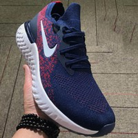 NIKE Epic React Flyknit Tide Brand Fashion Comfortable Shock Absorbing Sneakers F-CSXY blue
