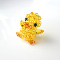Yellow Duck, Beaded Swarosvki Crystal, Figurine, Charm, Cell Phone Charm, Kawaii Animal Bird