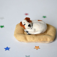 Needle felted little sleeping Jack Russell Terrier puppy. Tiny cute dog. Miniature animal. Sweet gift. Small toy.