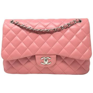 Chanel Jumbo Pink Quilted Lambskin Leather Double Flap Bag, 2014