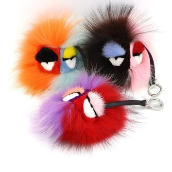 Genuine fur raccoon pompom keychains real monsters bag charms animal  key chain lady bug eyes silver key ring pendantKawaii Pokemon go  AT_89_9