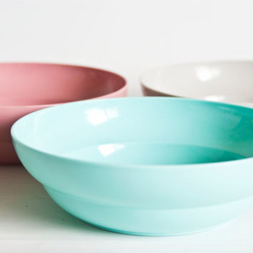 Vintage Tupperware Cereal Bowls, 1980s Tupper Ware Bowls Muted Pastel Colors, Gray, Pink, Turquoise