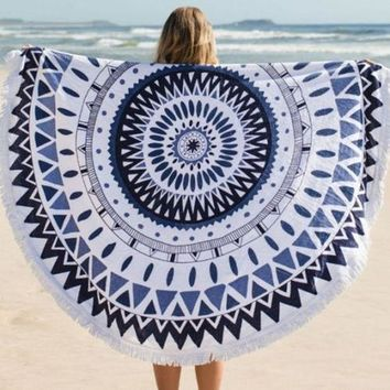 CREYU3C Hippie Round Mandala Tapestry Indian Wall Hanging Beach Throw Towel Yoga Mat beach cover up