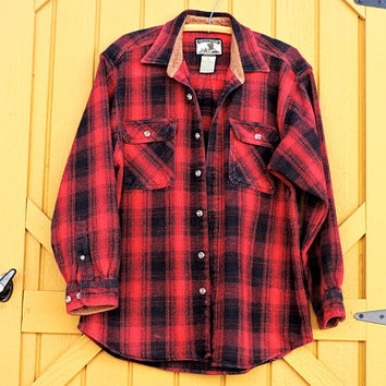 Vintage Field and Stream heavy cotton over shirt / size M / 80s mens red plaid flannel cotton / corduroy jacket / hunting fishing wear