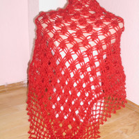Red silvery mohair  shawl/Crochet red shawl/scarf red shawl lace shawl