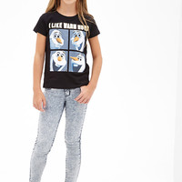 FOREVER 21 GIRLS Warm Hugs Frozen Tee (Kids) Black/White