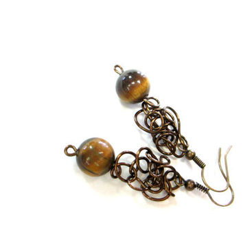 Bronze Wire Earrings Lacy Tiger Eye Stone Beads Brown Jewelry