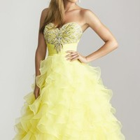 Ruffled Sweetheart Evening Gown by NightMoves by Allure
