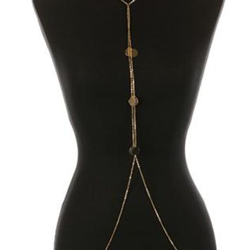 Body Chain Metal Coin Fringe Necklace And 30 Inch Long 12 Inch Drop Nickel And Lead Compliant