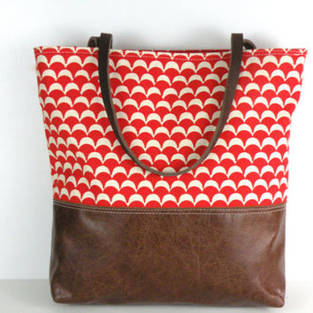 Urban Tote in Red and White Canvas and distressed leather
