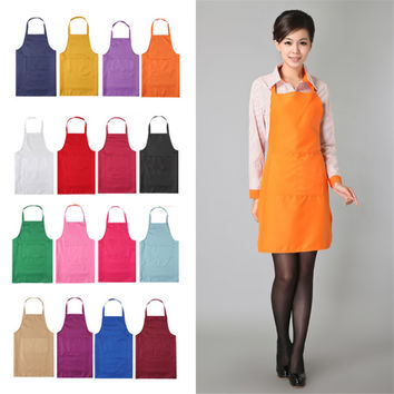 2015 Fashion Unisex Aprons 8 Colors Solid Plain Apron with Front Pocket Chefs Butchers Home Kitchen Cookware Craft Baking N833