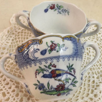 Copeland Spode Aviary Cream Soup Bowls, Set of 2, Blue Border Chelsea Bird, Antique Bouillon Soup Cups, England Staffordshire Pottery