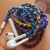 Handmade Wrapped Tangle-Free Earbuds | 80s Retro Tie Dye Remix| Genuine iPhone EarPods