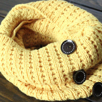 Womens Chunky Cable Knit Mustard Infinity Scarf, Mustard Scarf, Button Up Handmade Knit Scarf Gift for her by my fashion creations