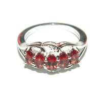 Mozambique Garnet Ring, Sterling Silver Ring with Stones, Anniversary Ring, Middle Finger Ring
