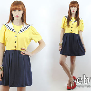 Vintage 90s Navy + Yellow Mini Sailor Dress M L Sailor Mini Dress Nautical Dress Summer Dress Babydoll Dress Yellow Dress Dolly Dress