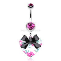 Vintage Floral Heart Bow-Tie Belly Button Ring (Fuchsia)