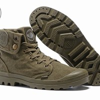 PALLADIUM Pallabrouse Army green Turn help Men Military Ankle Boots Canvas Casual Shoes Men Casual Shoes Eur Size 39-45